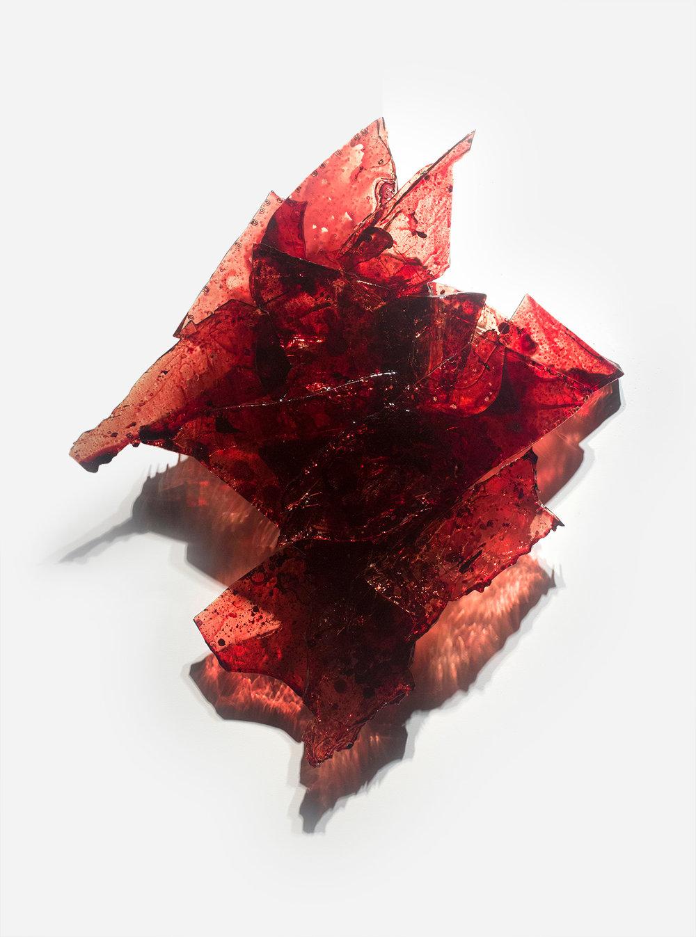 "Untitled,  2018  34 x 29 x 5""  blood,UV resin"