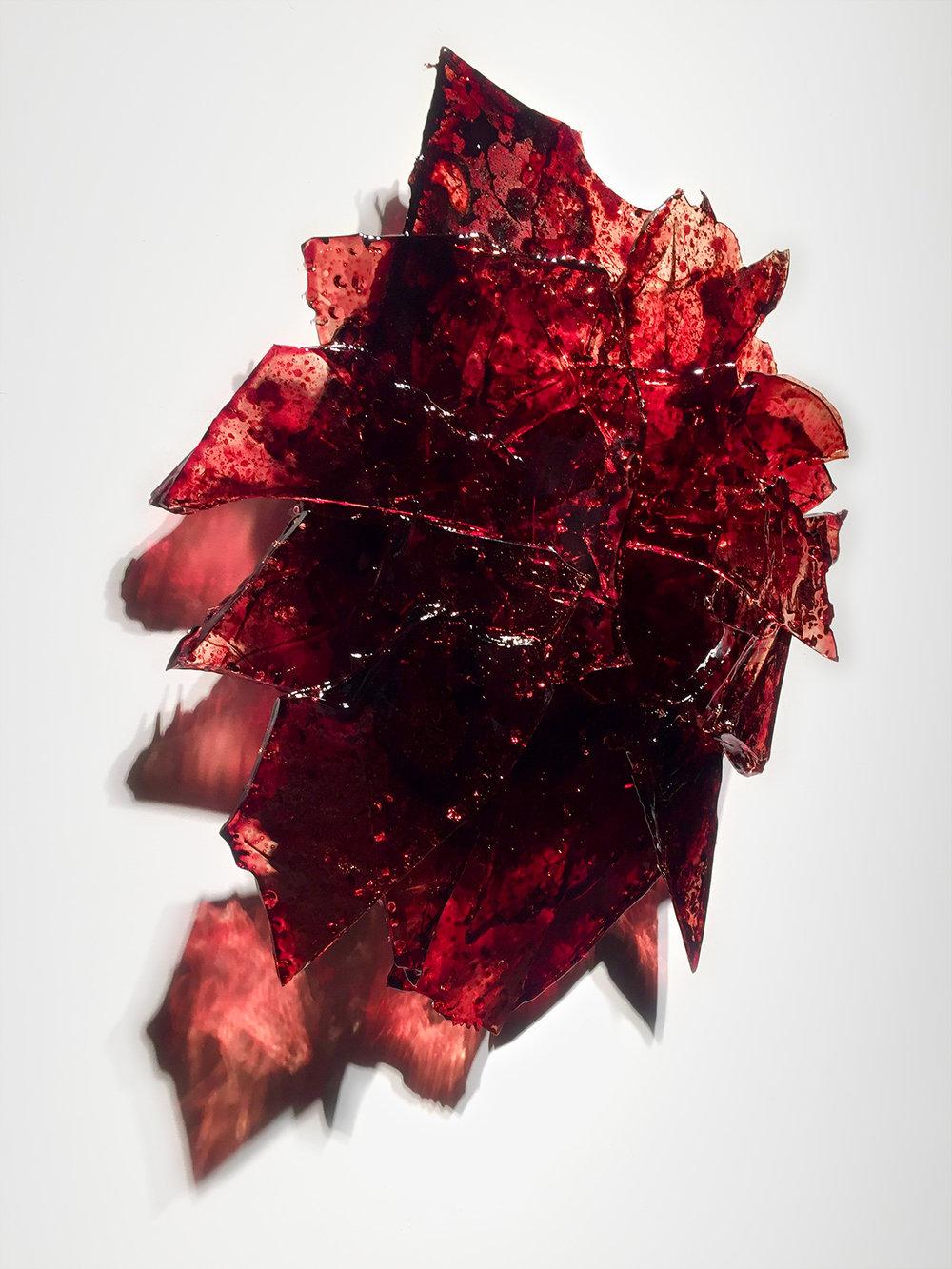 "Untitled,  2018  27 x 27 x 7""  blood,UV resin"