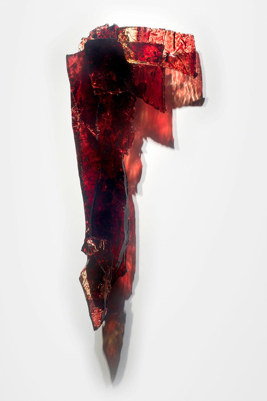 "Untitled,  2018  31 x 16 x 5""  blood,UV resin"