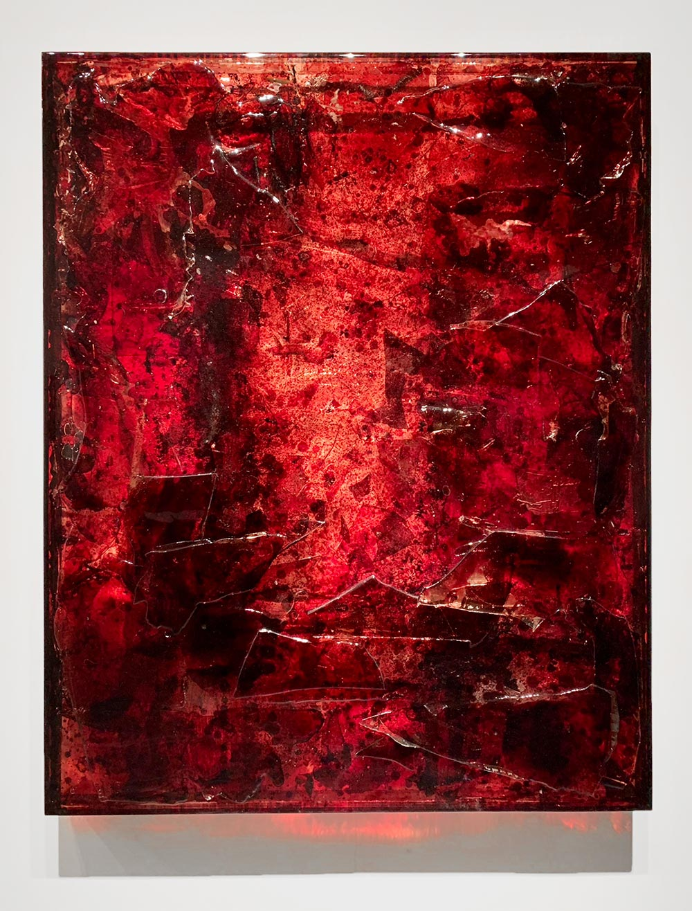 "BRS3 ,  2017  60 x 48 x 4""  blood, plexiglass, UV resin"