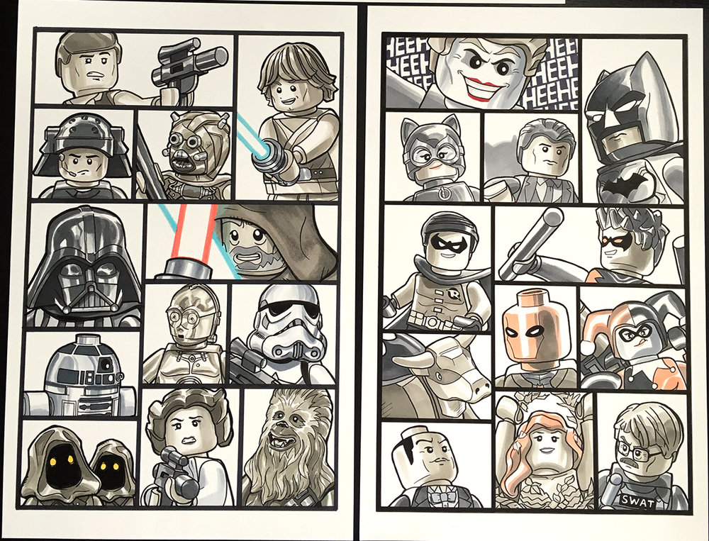 11x17 12 character grid commission example.