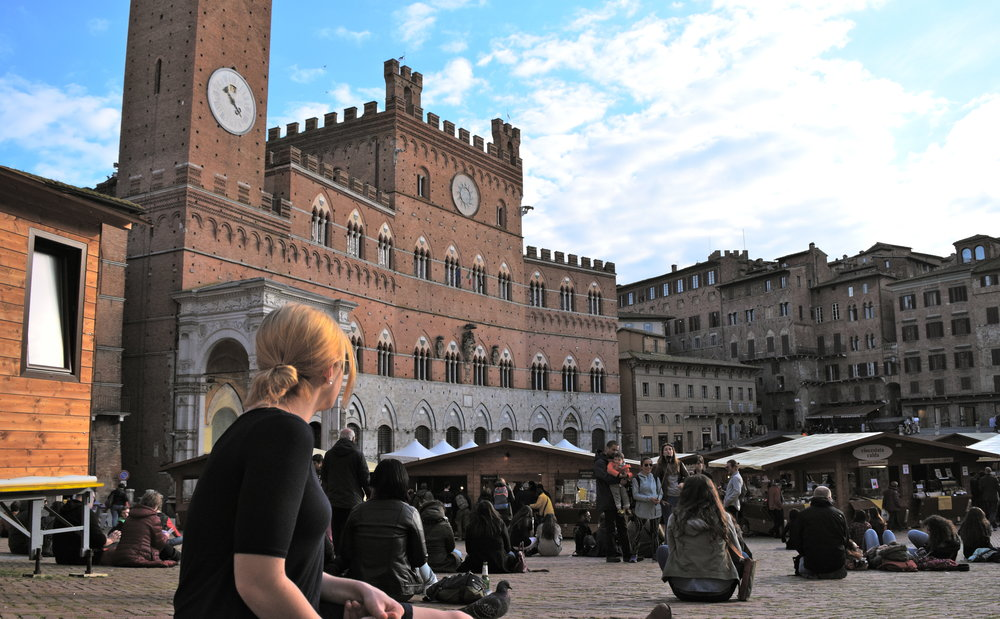 Seasonal chocolate market in Piazza Del Campo, Siena.