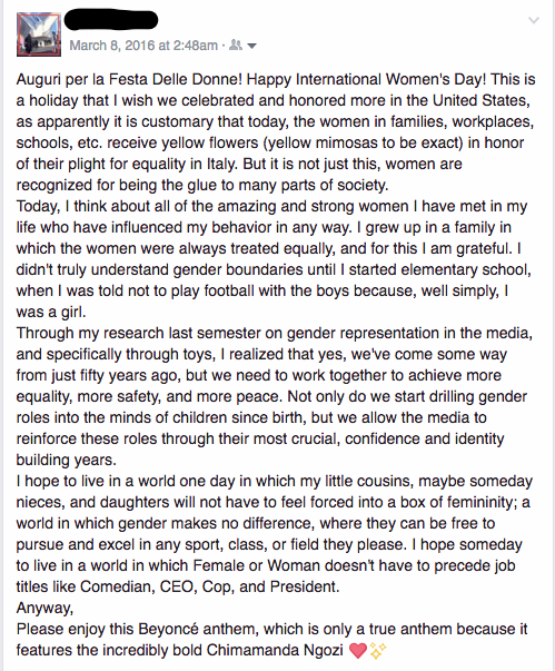 My eager Facebook status last Women's Day, 2016