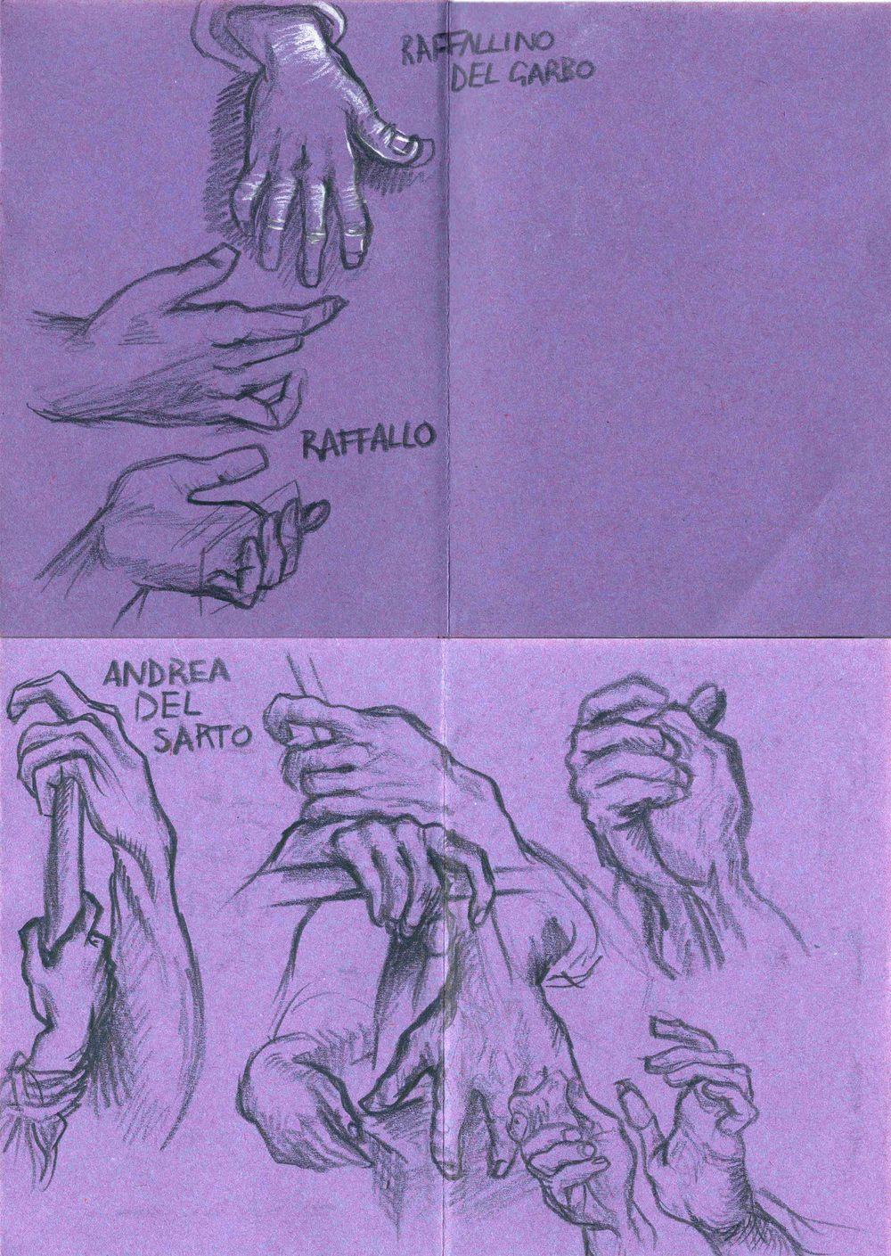 Study of hands from a book of masters