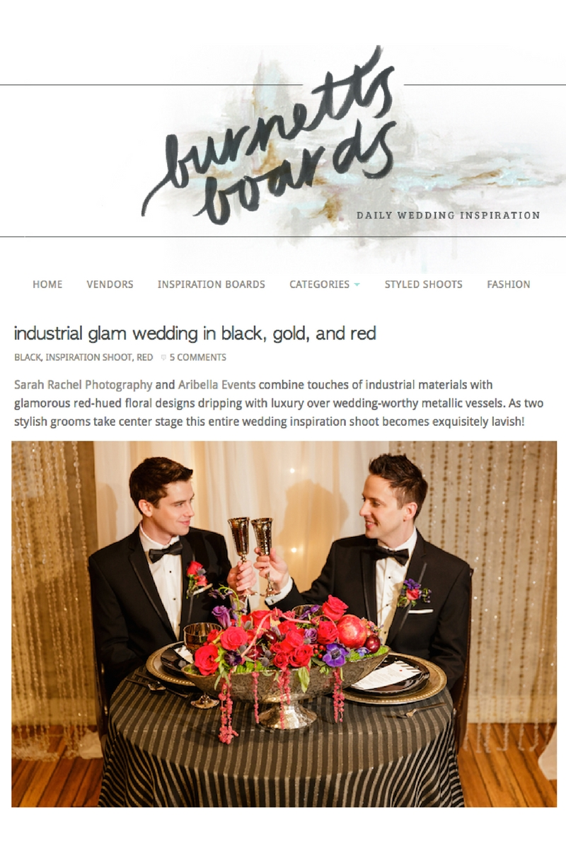 13 Aribella Events Burnetts Boards Industrial Glamour Red Purple Black Silver Same Sex Styled Shoot.jpg