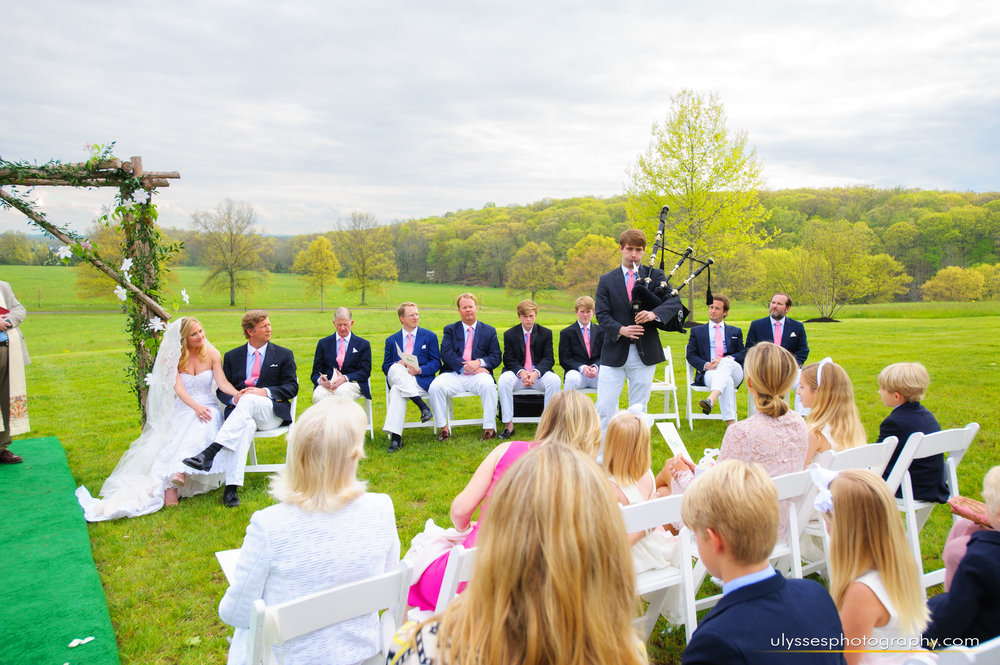 12 Bagpipes Outdoor Wedding Ceremony Dunwalke Farm At Home Wedding.jpg