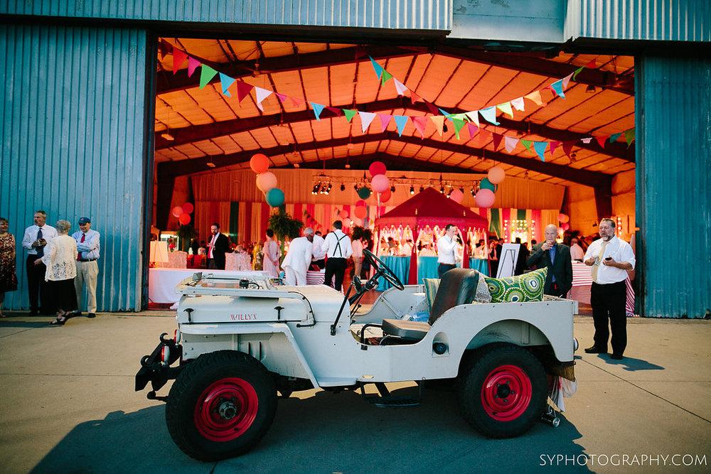 49 Princeton Airport Wedding Vintage Carnival Wedding Vintage Jeep Willy Getaway Car Aribella Events.jpg