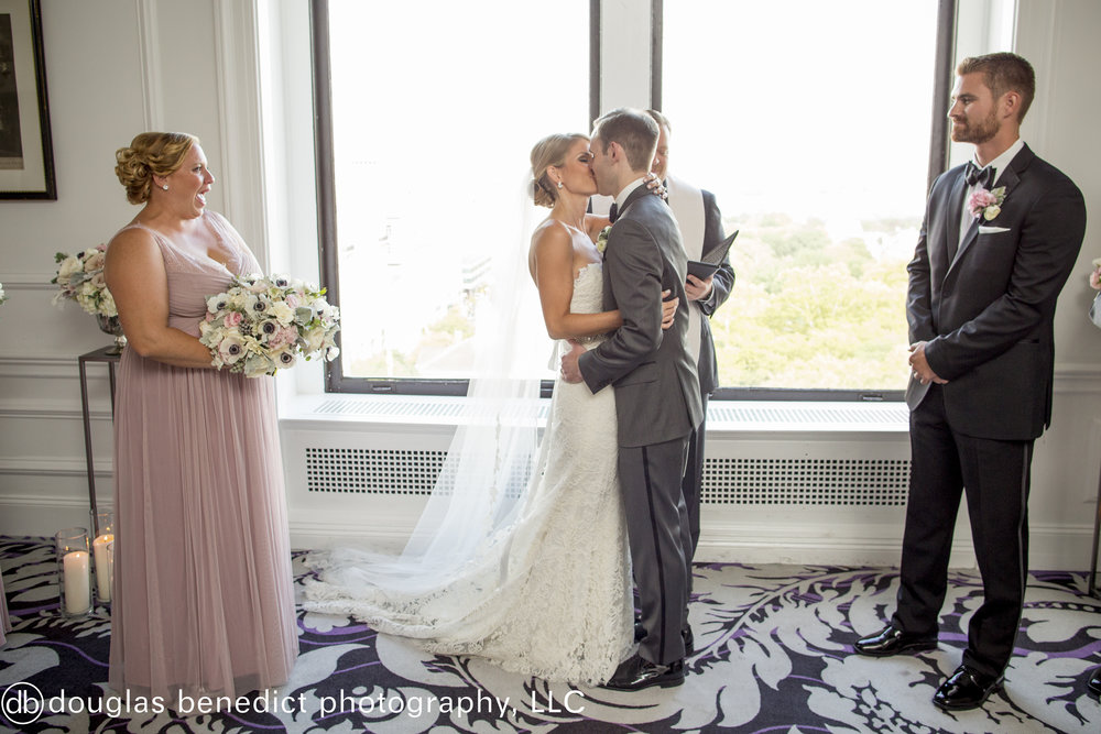 27 Philadelphia Wedding Downtown Club Ceremony Kiss.jpg