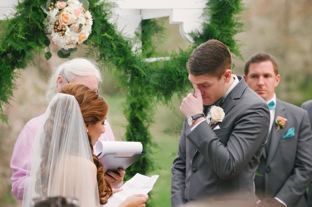 17 Philadelphia Wedding Planner Groom Crying at Vows Historic Rosemont Manor Destination Wedding.JPG