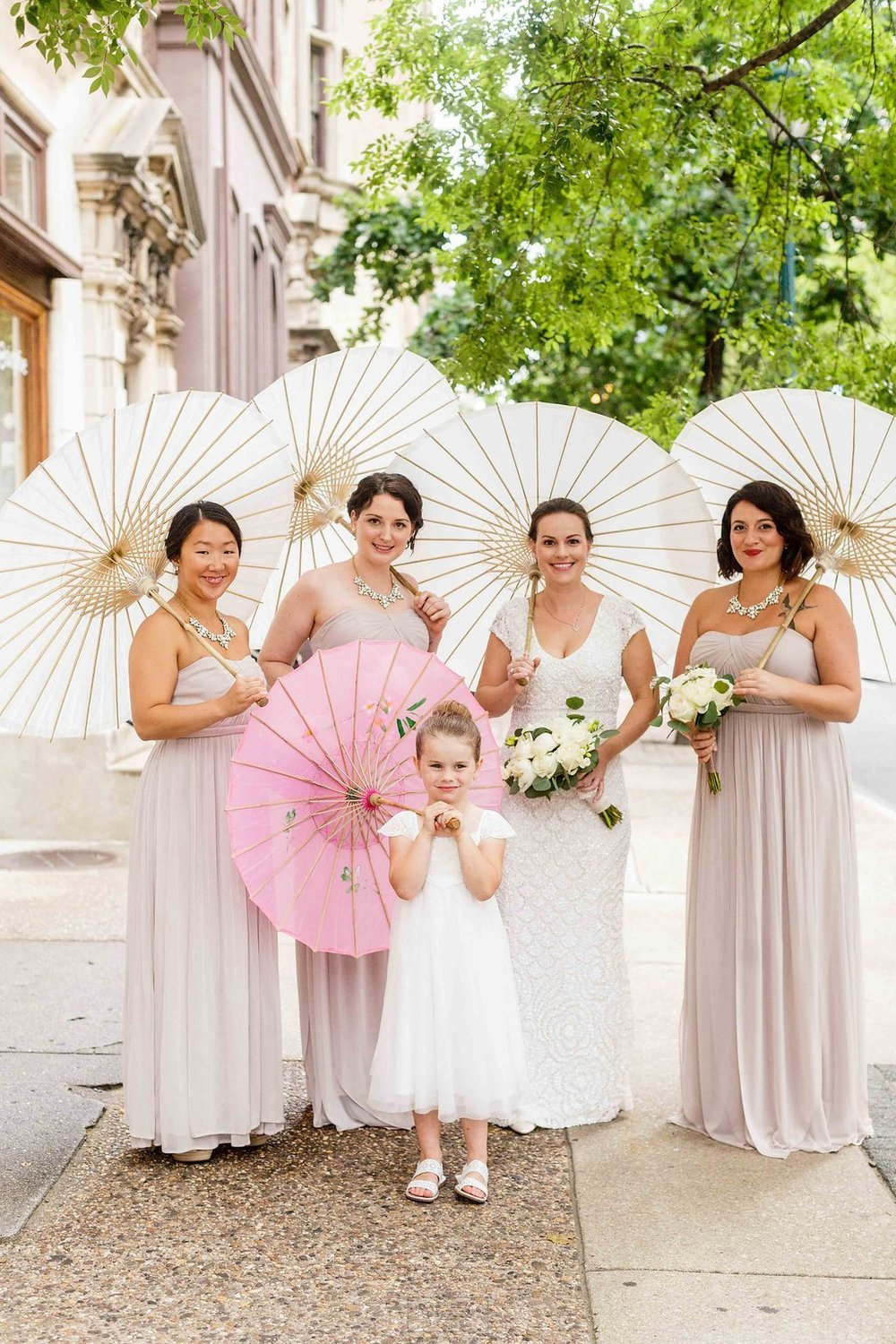 17 Philadelphia Wedding Rittenhouse Square Stotesbury Mansion Bridal Party Parasols.jpg