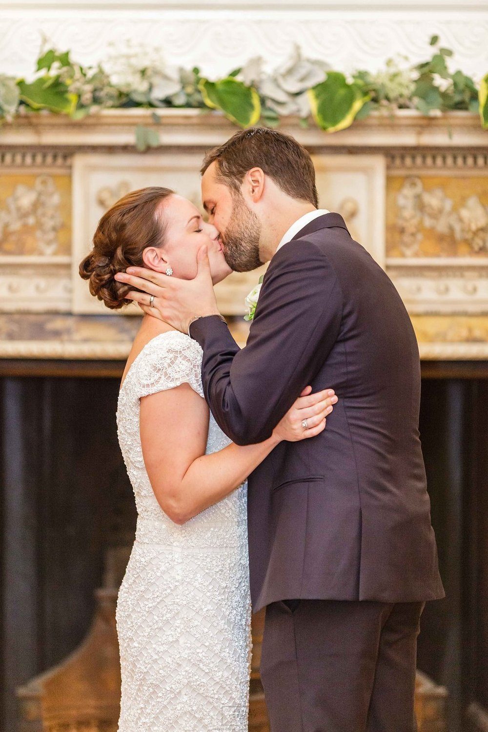26 Philadelphia Wedding Stotesbury Mansion Ceremony Kiss.jpg