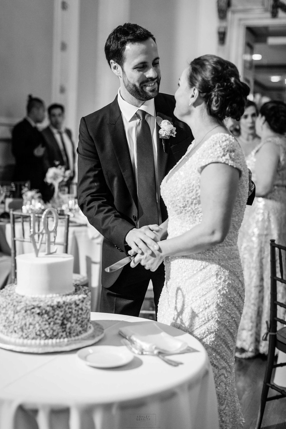 31 Philadelphia Wedding Stotesbury Mansion Cutting the Cake Sprinkles Wedding Cake Jimmies Wedding Cake.jpg