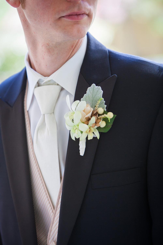 09 Philadelphia Wedding Florist Dusty Miller Orchid Rose Grooms Boutonniere.jpg