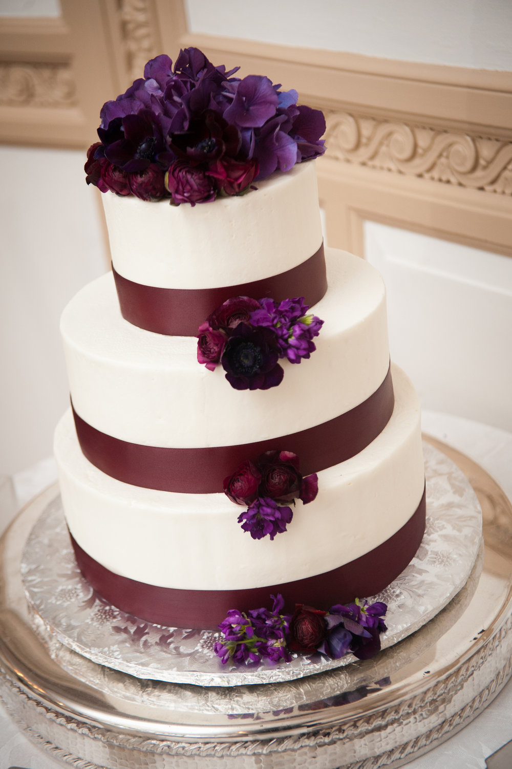 32 Eggplant Accent Wedding Cake Winter Wedding.JPG