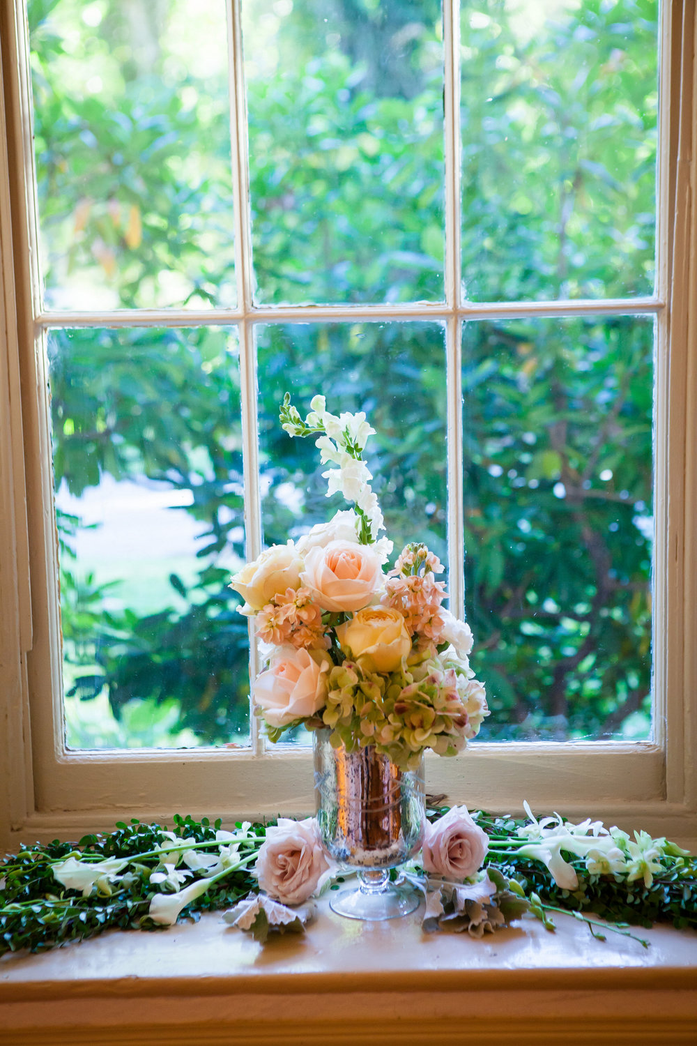 72 Pink Roses Green Hydrangea Mercury Glass Historic Yellow Springs Wedding Reception.jpg