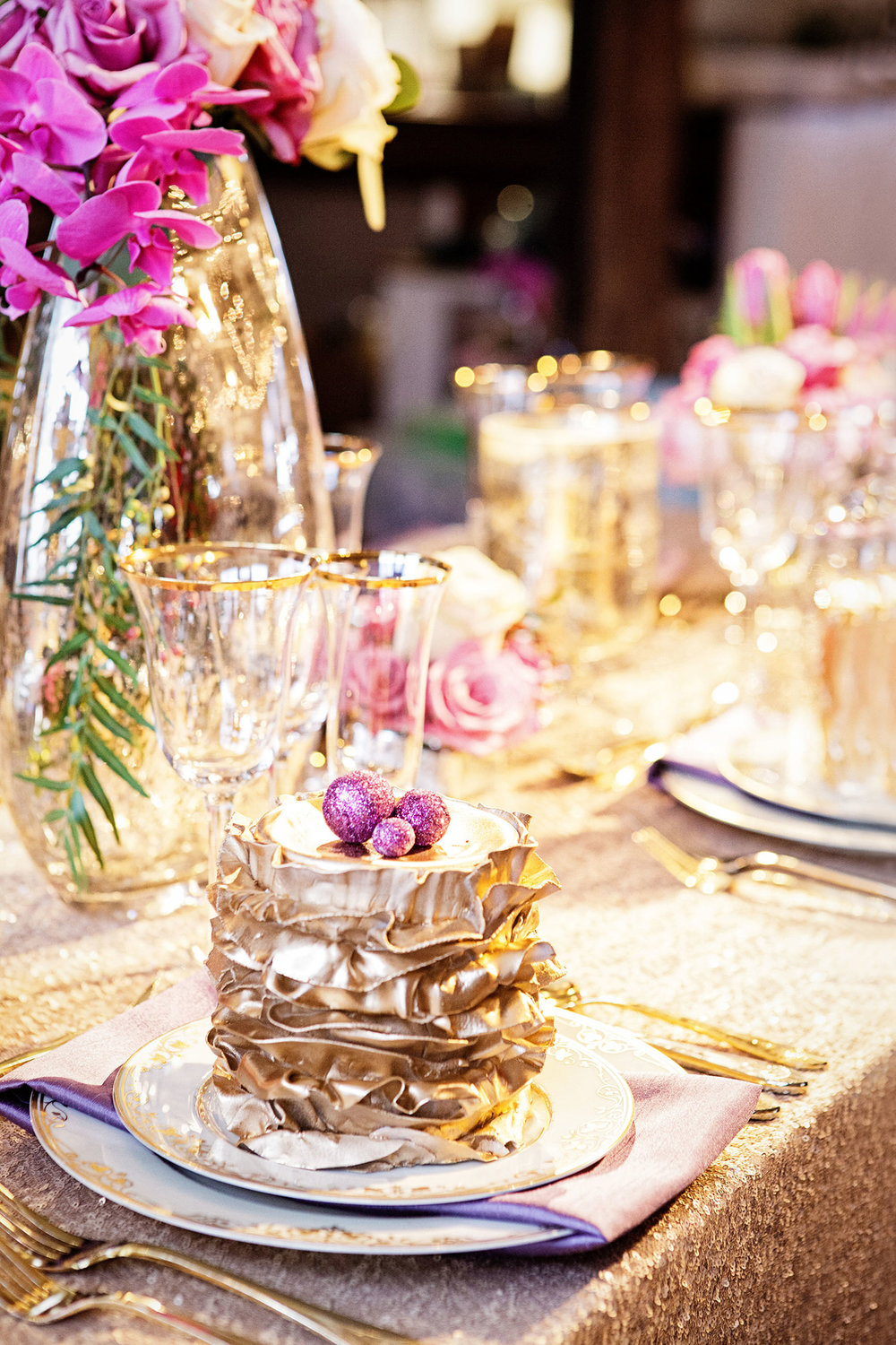 42 Radiant Orchid Greenery Mercury Glass Gold Wedding Centerpiece Philadelphia Wedding.jpg
