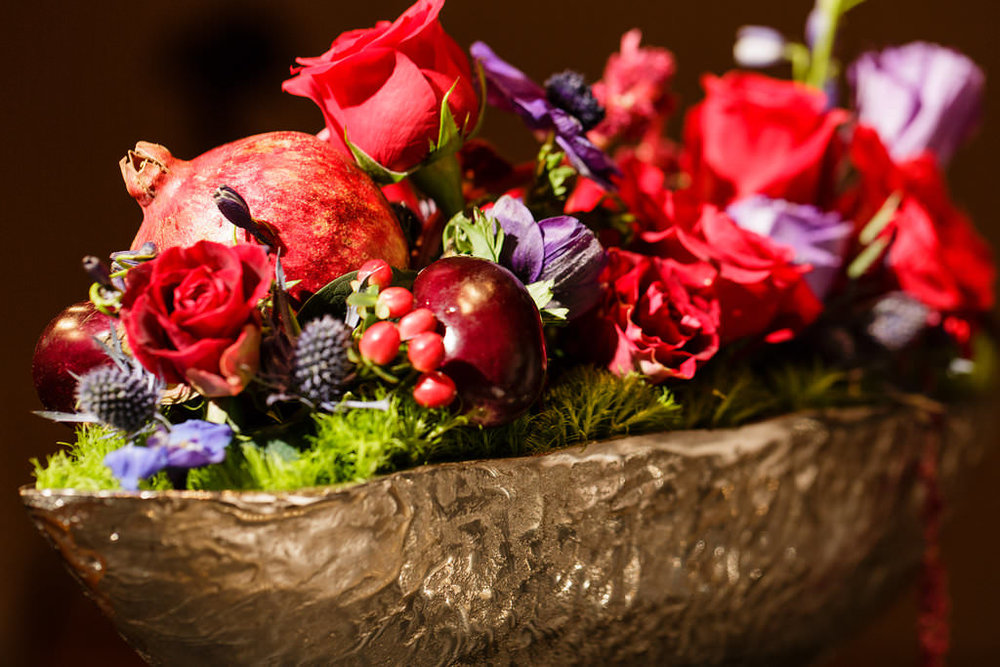 73 Fruit and Flowers Centerpiece Red Rose Eggplant Pomegranate Thistle Hammered Metal Centerpiece Philadelphia Wedding Florist.jpg