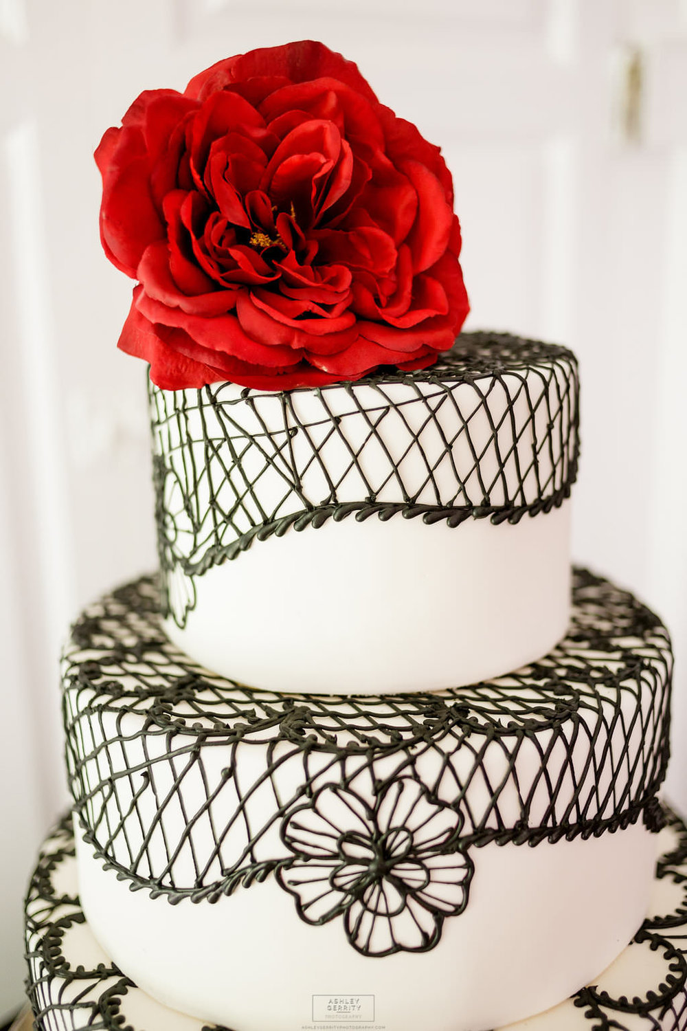 32 Spanish Rose Wedding Cake Black Lace Red Rose Chester County Weddings.jpg