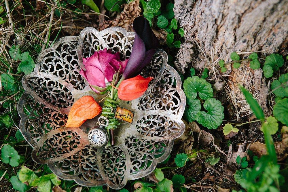 42 Alice in Wonderland Boutonniere Chinese Lantern Purple Calla Boutonniere.JPG