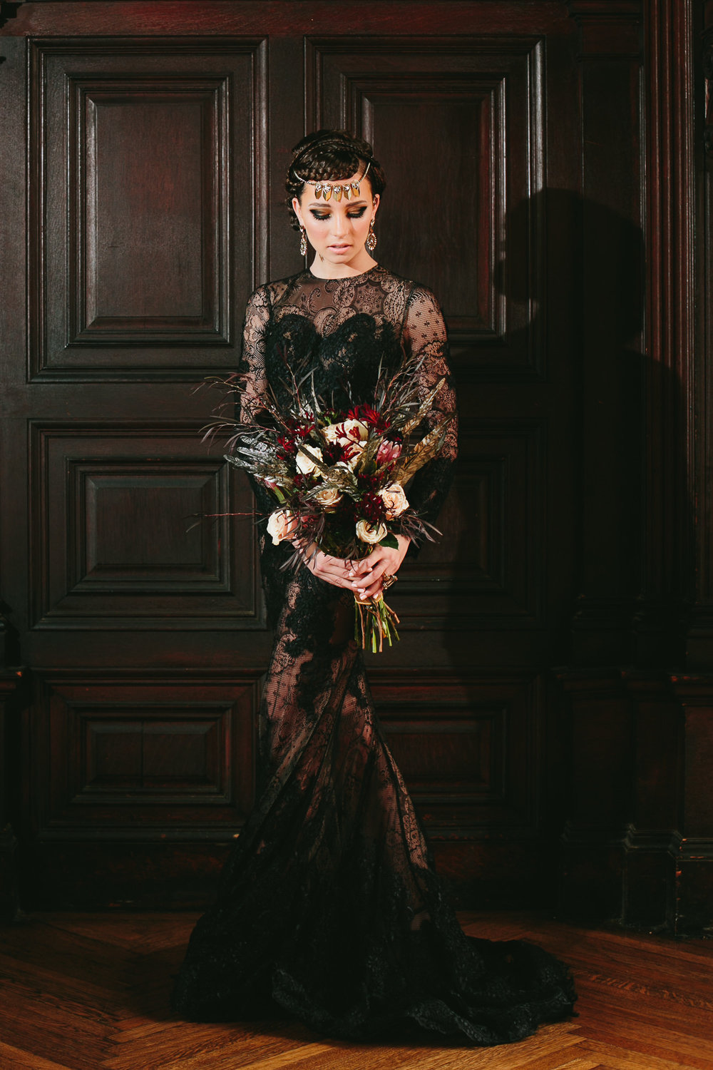 65 Black Lace Wedding Feather Bouquet Highline Hotel NYC.jpg