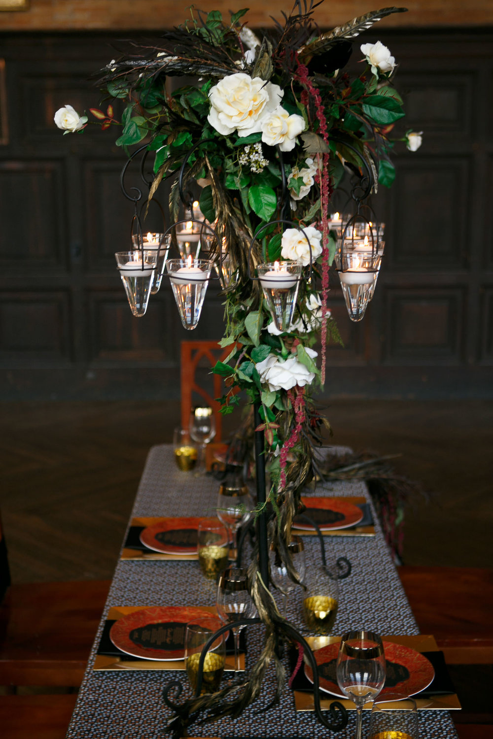 68 Tall Centerpiece Floating Candles White Rose Red Black Feather Black Red Gold Wedding.jpg
