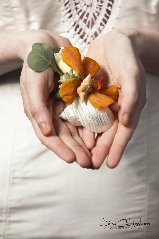 12 Orange Orchid Seashell Boutonniere Beach Wedding.jpg