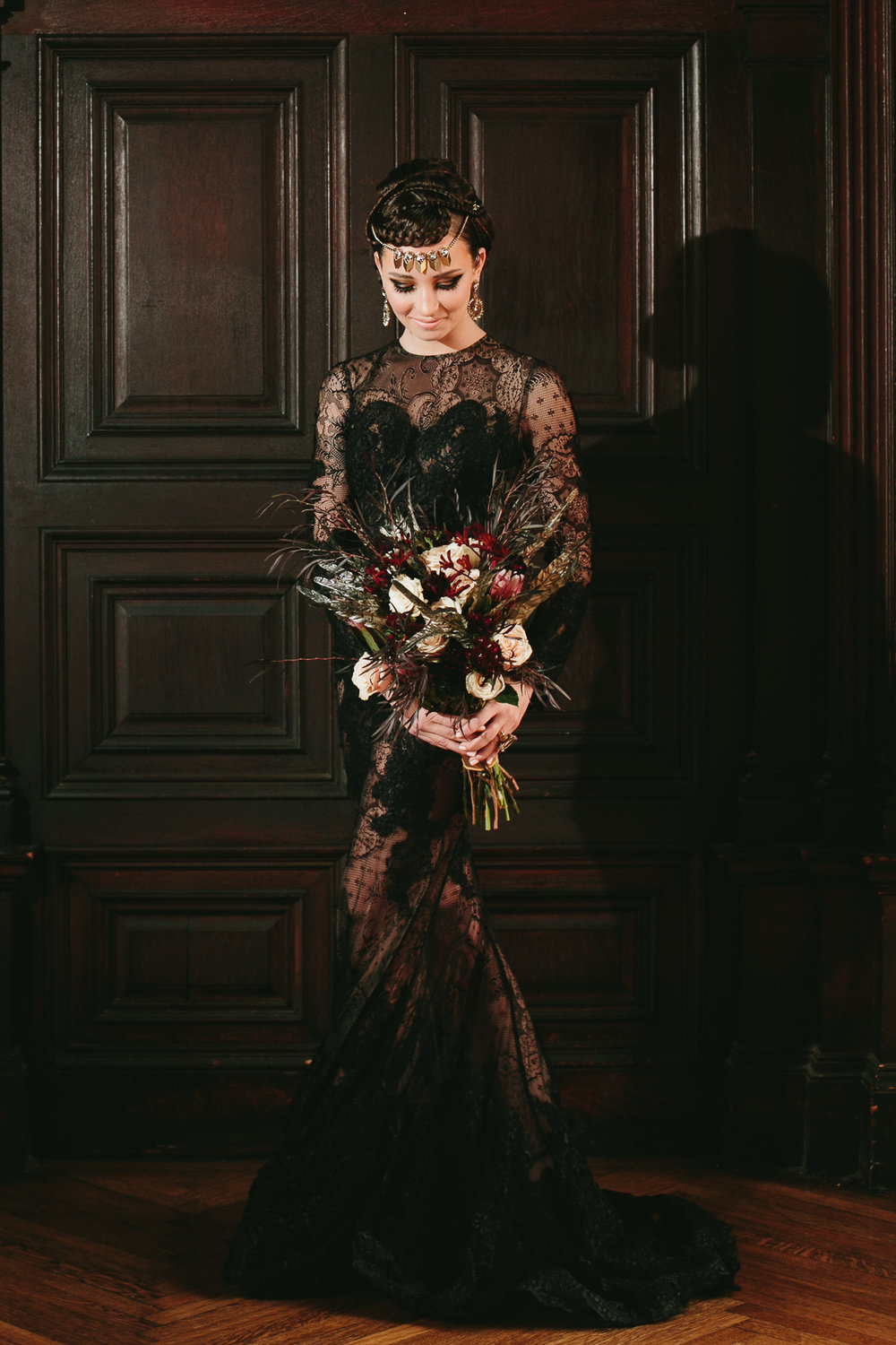 16 Black Lace Wedding Black and Gold Feather Bouquet Aribella Events.jpg