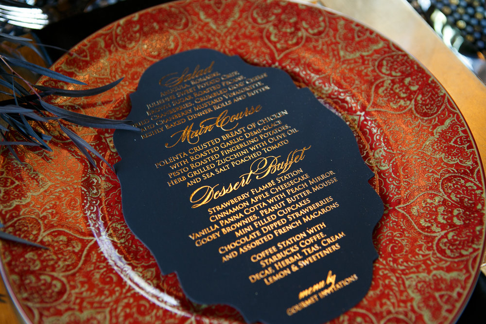 10 Gold Black Red Wedding Details Custom Menu China Place Setting Aribella Events.jpg