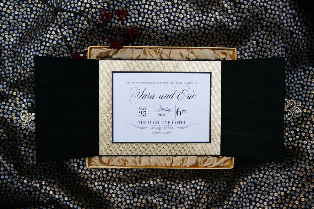 12 Black Satin Gold Foil Box Invitation Wedding Design Aribella Events.jpg