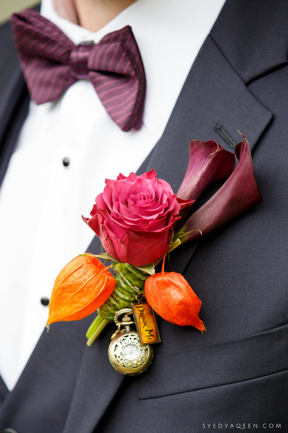 09 Chinese Lantern Pink Rose Purple Calla Lily Pocket Watch Boutonniere MadHatter Boutonniere Aribella Events.JPG