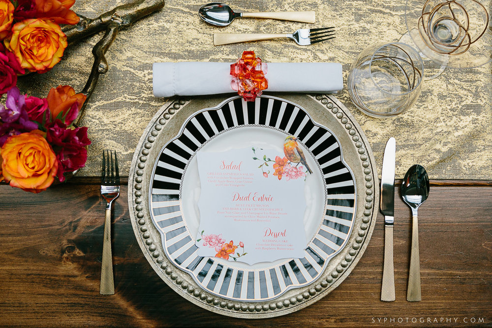 10 Spring Wedding Tablescape Black and White China Orange Pink PAFA Philadelphia Wedding Designer.jpg