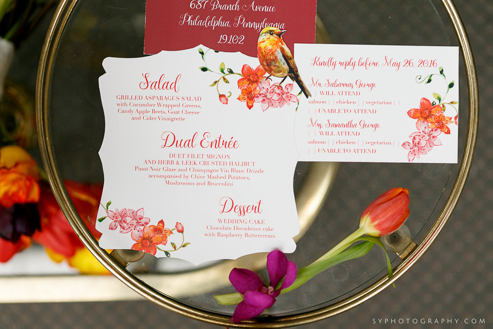 13 Custom Stationery Spring Wedding Purple Tulip Orange Tulip Pink Orchid.jpg