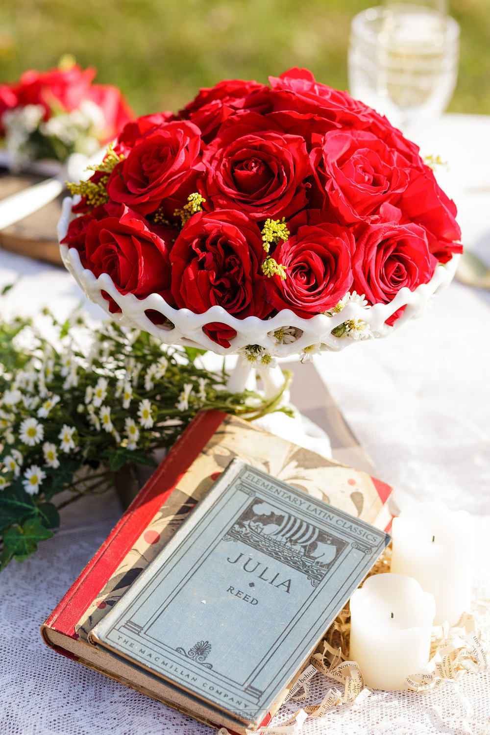 15 Classic Red Rose Centerpiece Book Lover Wedding.jpg