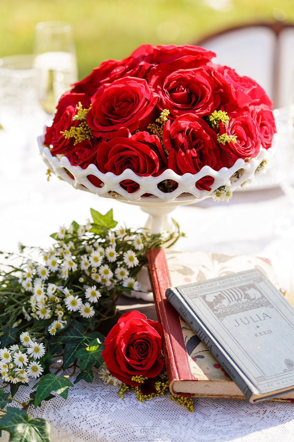 17 Red Roses Daisies Milkglass Books Centerpiece Book Lovers Wedding Gilmore Girls Inspired Wedding.jpg