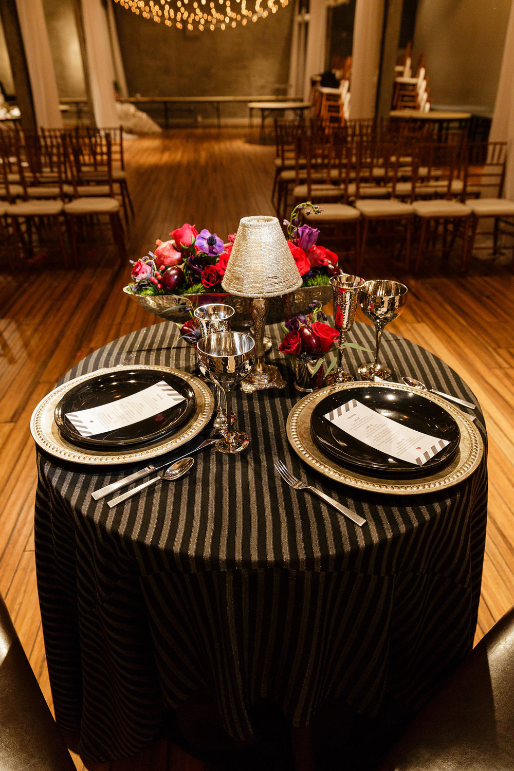 12 Front and Palmer Industrial Glamour Sweetheart Table Black Silver Red Purple Wedding.jpg