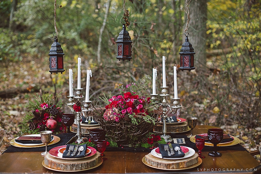 09 Little Red Riding Hood Wedding Woodland Wedding Forrest Centerpiece.jpg