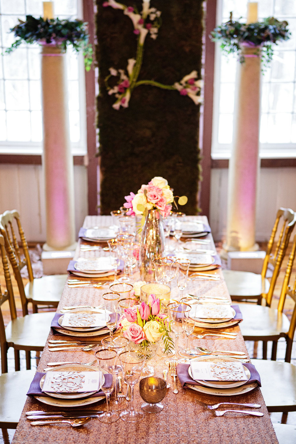 10 Philadelphia Wedding Gold Sequin Radiant Orchid Table Design.jpg