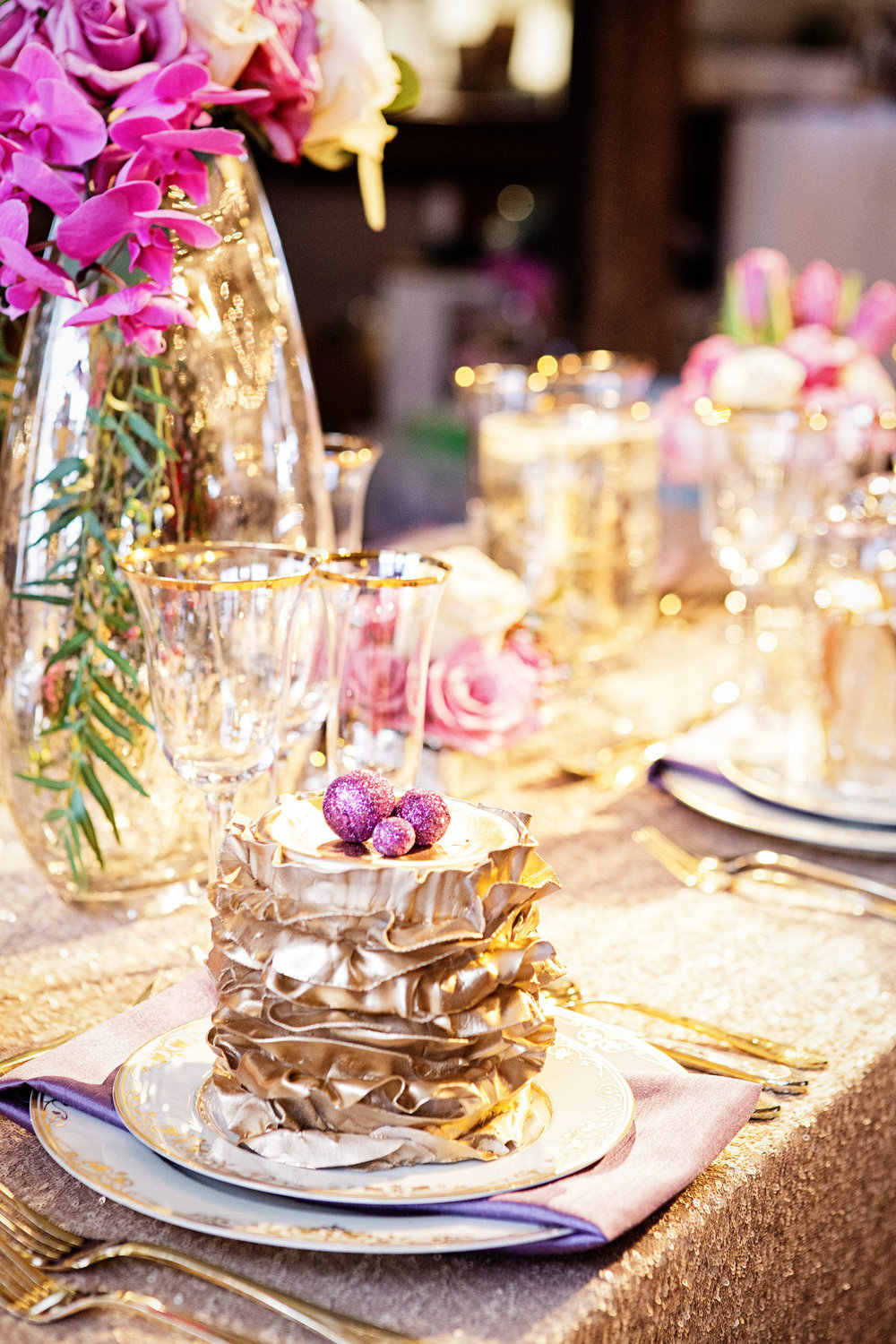 11 Mercury Gold Sequin Radiant Orchid Centerpiece Philadelphia Wedding Florist.jpg