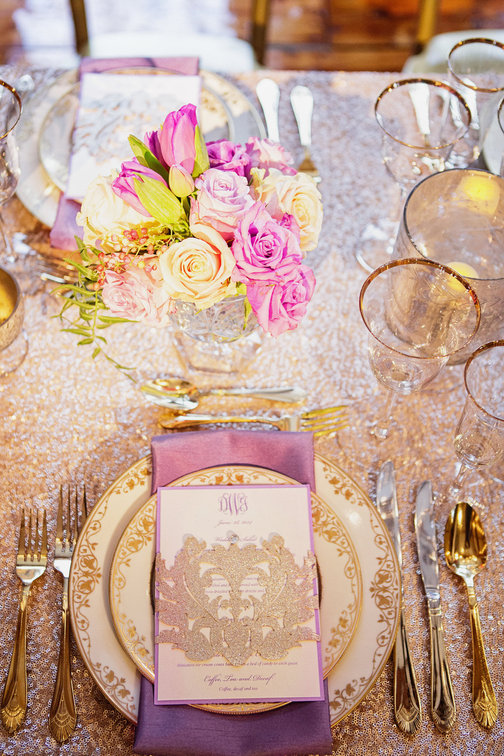 12 Philadelphia Wedding Gold Sequin Radiant Orchid Wedding Centerpiece Philadelphia Wedding Florist.jpg