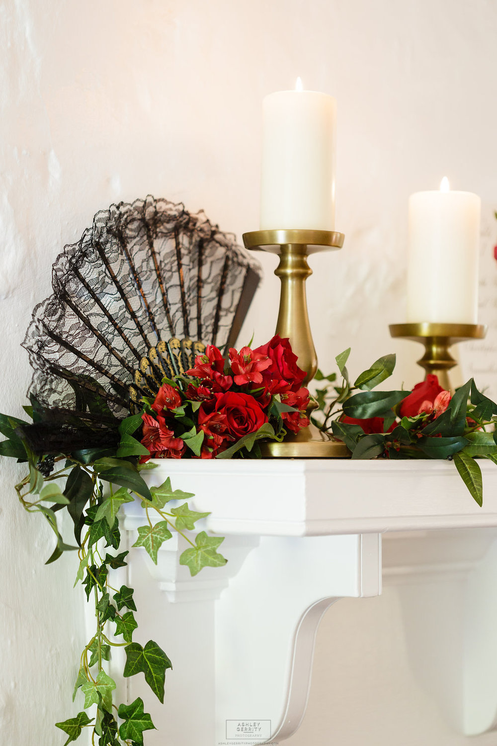 15 Spanish Rose Wedding Inspiration Mantel Decoration Candlelight Black Lace Fan Ivy Red Rose.jpg