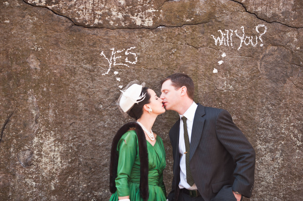 13 Mad Men Rock Climbing Styled Engagement Shoot Cocktail Dress Vintage Fur.jpg