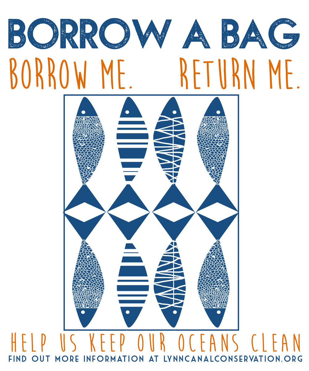 Borrow Me Return Me -  The t-shirt bags have been so popular that we cannot keep up with the demand! We recently ordered 50 bags made out of recycled cotton with a new design. Once the bags arrive we will put them into circulation at Howsers, Olerud's, Mountain Market, Haines library and the farmers market! If you are feeling crafty and have collected a pile of old t-shirts in your closet, follow the directions below to make your own t-shirt bags. If you would like to sponsor a bag send an email to: lynncanalconservation@gmail.com.