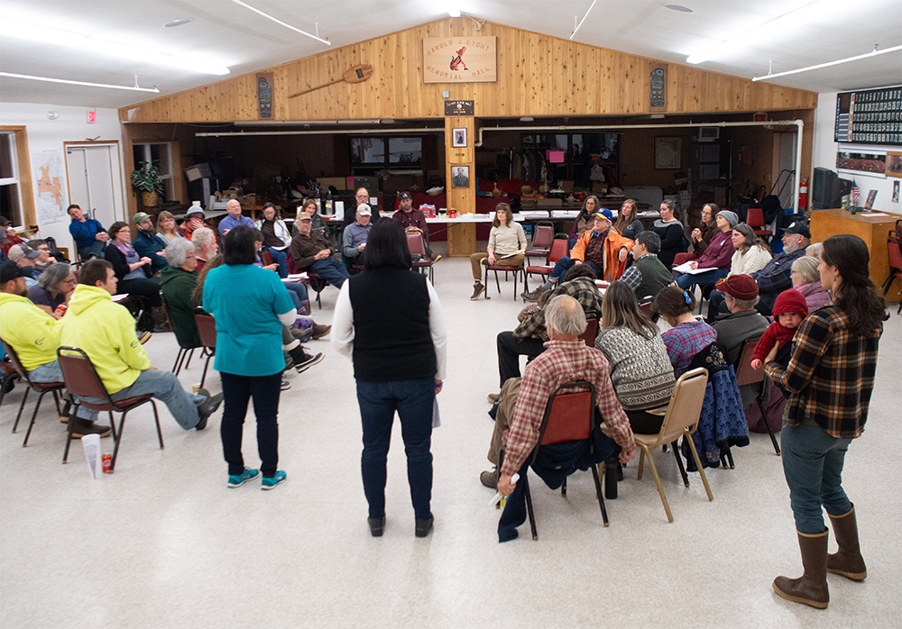 Haines and Klukwan residents gather at the ANB Hall in Haines for the University of Alaska's Open House meeting on November 26th 2018. Residents received very little information about the specifics of the timber sale, and were told not to anticipate answers until after the contract is signed with the purchaser.