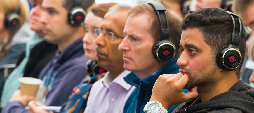 CONFERENCES & EXPOS - No problem! Attendees can hear the spoken word, directly through their headphones.