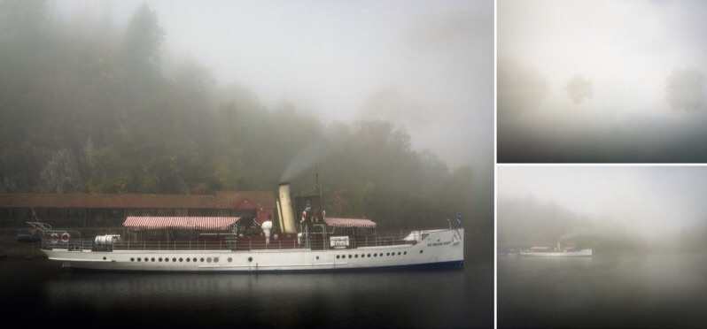 Atmospheric triptych of three photos shot in thick, early morning fog with the steamship Sir Walter Scott at its berth on Loch Katrine.