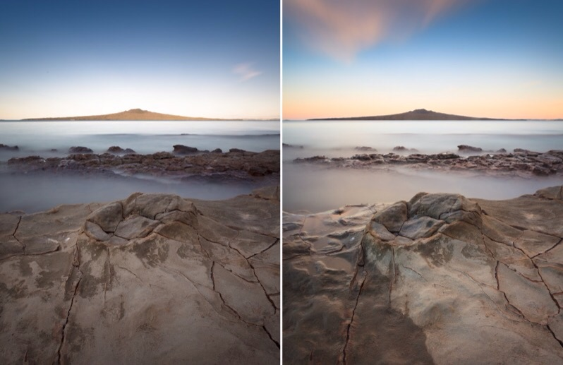 Diptych of two long exposure seascapes from the series Rangitoto Echo.