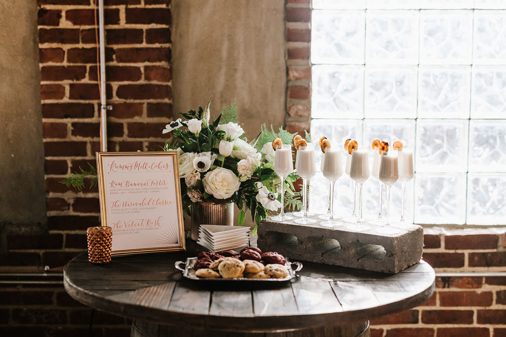 A glamorous milk and two-bite cookie pairing at Short Path Distillery in Everett, MA! Photo credit: Annmarie Swift Photography