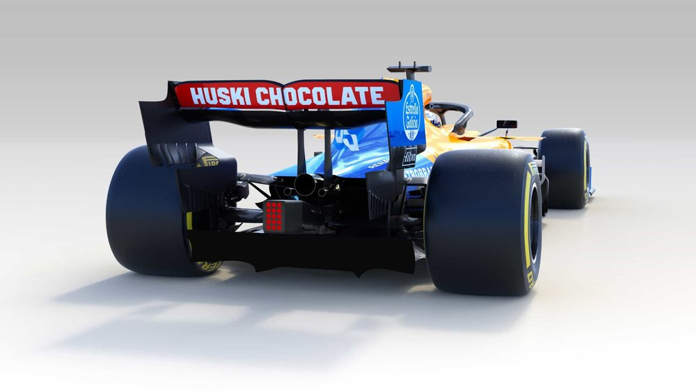 McLaren's 2019 race car, the MCL34.  Images by McLaren