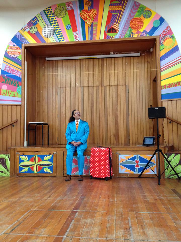 One of the more colourful school stages I have performed on.