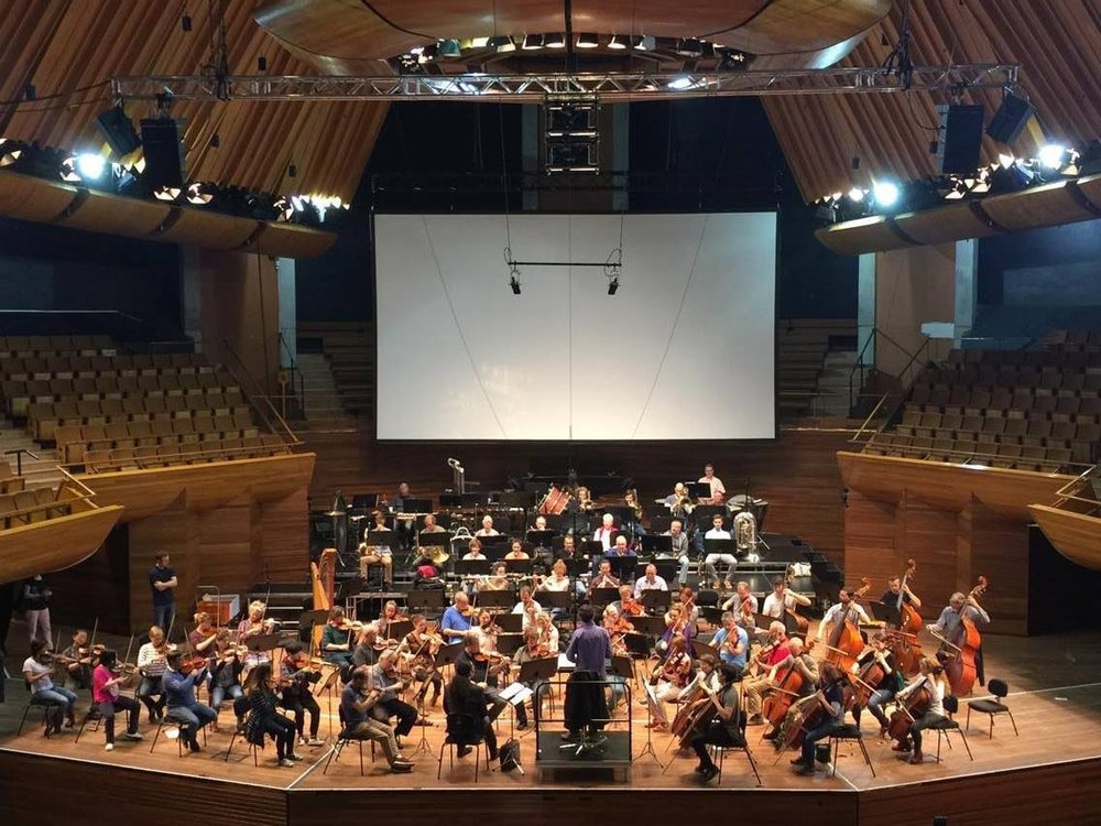 Rehearsal with the NZSO. Can you spot me sitting at the front? (I'm facing the orchestra)
